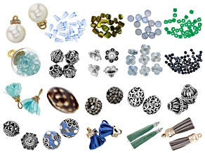 Assorted Floral Inspired Bead Kit in Blue Color Way in 2 Tones 188 Pieces Total