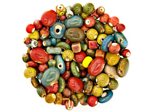 Ceramic Bead Set in Mixed Shapes and Colors Appx 1lb