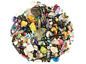 Mother-of-Pearl 1lb Assorted Bead Mix in Assorted Shapes and Colors