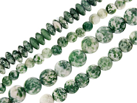 Green Mixed Ornamental Stone Bead Strand Set of 4 appx 6, 8, 10mm Rounds and appx 8mm Rondelles