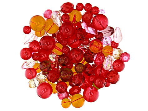 Glass Beads 1/2lb Bag in Red Mix in Assorted Shapes and Colors