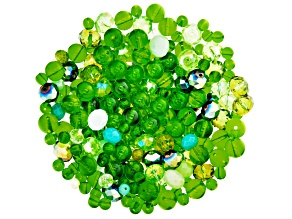 Glass Beads 1/2lb Bag in Green Mix in Assorted Shapes and Colors