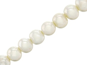 White Cultured Freshwater Potato Shape Large Hole Pearl Bead Strand appx 7.5-9mm