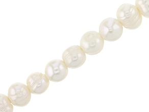 White Cultured Freshwater Appx 8x9mm Large Hole Potato Shape Pearls Appx 7-8