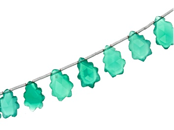 """Picture of Green Onyx Appx 6x9mm-12x9mm Christmas Tree Carved Bead Strand appx 7-8"""" in length"""