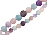 Matte Amethyst, Rose Quartz, and Multi-Quartz Round Bead Strand Set of 2 appx 6mm & 8mm appx 15-16