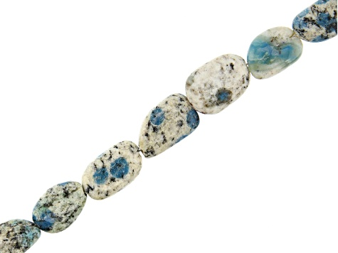 "Azurite in Granite Tumbled Oval Appx 10-15mm Bead Strand appx 15-16"" in length"
