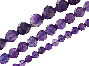 Amethyst Round Faceted Bead Strand Set of 3 in appx 4mm, 6mm, & 8mm appx 15-16