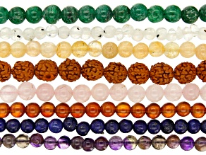 Multicolor Round Bead Strand Set of 8 Appx 15-16