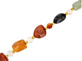Multi Agate & Gold Tone Spacer Bead Beggar Endless Bead Strand Appx 32