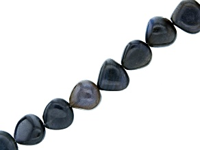 "Black Labradorite Heart Bead Strand Appx 15-16"" in length"