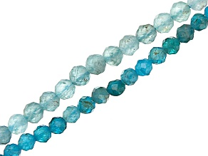 Neon & Light Blue Apatite Faceted Round appx 2mm Bead Strand Set of 2 Appx 15-16