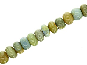 Blue and Green Opal Smooth Rondelle Appx 7-11mm Bead Strand Appx 15-16