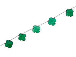 "Green Onyx Flower Bead Strand Appx 15-16"" in length"