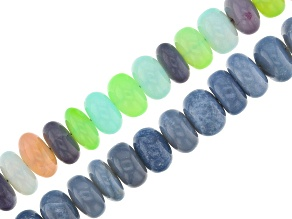 Blue Opal and Mixed Opal Smooth Rondelle Bead Strand Set of 2 Appx 15-16