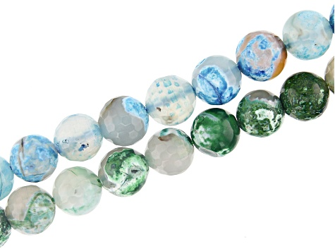 Agate Faceted Round Appx 12mm Round Bead Strand Set of 2 in Blue and Green Appx 15-16