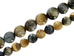 Tiger's Eye and Hawk's Eye Bead Strand Set of 2 Appx 6mm & 8mm Appx 15-16