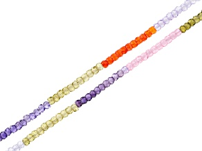 Multi CZ Bead Strand Set of 2 Appx 15-16