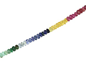 "Emerald, Mahaleo® Sapphire, and Mahaleo® Ruby Bead Strand Appx 15-16"" in length"