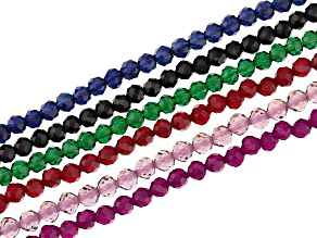 Glass Multi Color Faceted Bead Strand Set of 6 Appx 15-16