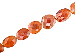Coated Carnelian Faceted Oval Bead Strand Appx 8