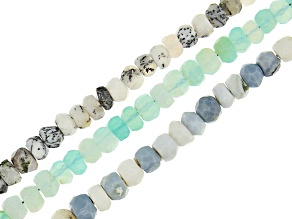 "Opal Faceted Rondelle Bead Strand Set of 3 Appx 15-16"" in length"