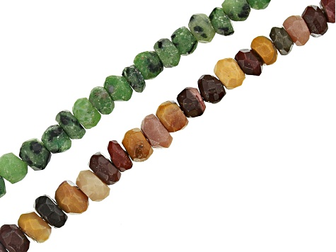 Zoisite and Mookite Faceted Rondelle Bead Strand Set of 2 Appx 15-16