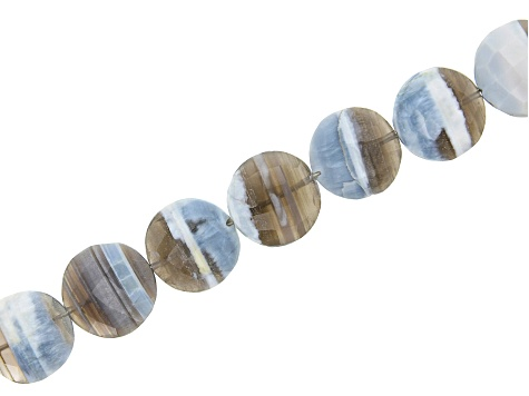 Opal and Chalcedony Coin Bead Strand Appx 8