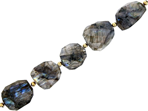 Labradorite Faceted Tumbled Graduated Bead Strand with Round Gold Tone Spacer Beads appx 15-16""