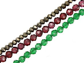 Garnet Appx 2.5mm, Pyrite Appx 2mm, & Green Quartz Appx 2.5mm Microfaceted Bead Strand Set of 3