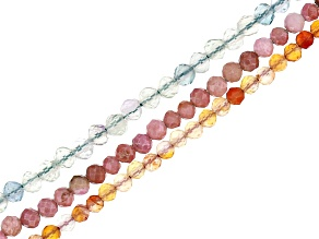 Rhodonite, Fluorite, Carnelian and Rock Crystal Quartz Appx 2mm Microfaceted Bead Strand Set of 3