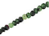 Ruby in Zoisite Faceted Rondelle Appx 3-4mm Bead Strand Appx 15-16