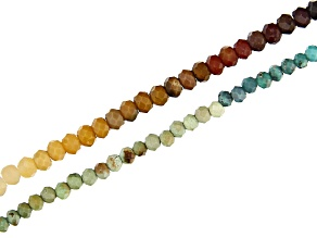 Turquoise Appx 2mm & Mookaite Appx 2.5mm Microfaceted Bead Strand Set of 2 Appx 15-16
