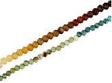 Turquoise Appx 2mm & Mookite Appx 2.5mm Microfaceted Bead Strand Set of 2 Appx 15-16