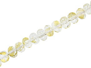 Rock Crystal Quartz with Gold Foil appx 6mm Faceted Bead Strand appx 15-16