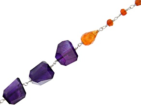 "Colors of the Chakra Rosary Style Chain Appx 32"" in length"