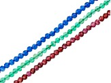 Green Chalcedony, Blue Quartz & Garnet Microfaceted Appx 2mm Bead Strand Set of 3 Appx 15-16""