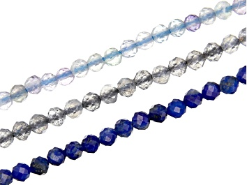 """Picture of Lapis Lazuli, Fluorite, & Labradorite Microfaceted Appx 2mm Round Bead Strand Set of 3 Appx 15-16"""""""