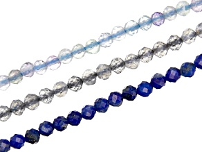 Lapis Lazuli, Fluorite, & Labradorite Microfaceted Appx 2mm Round Bead Strand Set of 3 Appx 15-16