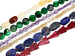 Multi Stone Bead Strand Set of 6 Appx 12-13
