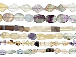 "Fluorite Bead Strand Set of 6 Appx 12-13"" in length"