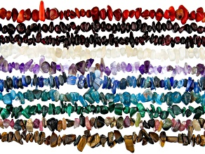 Exotic Multi-Gemstone Chip Strand Set of 10