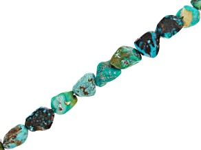 "Turquoise Free-form Nugget Appx 8-10mm Bead Strand Appx 15-16"" in length"