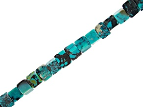 Turquoise Cube Appx 4mm Bead Strand Appx 15-16