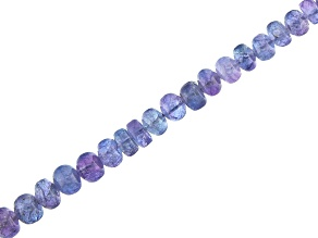 "Tanzanite Smooth Rondelle Appx 3-6mm Bead Strand Appx 18"" in length Appx 90-100 CTW"