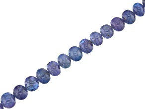 Tanzanite Graduated Smooth Rondelle Apx 6-9mm Rondelle Bead Strand Apx 13-14