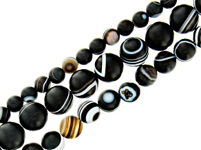 Matte Black Eye Agate & Onyx appx 6, 8, & 10mm Round Bead Strand Set of 3