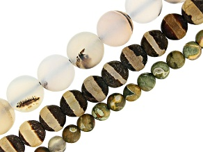 Matte Bead Strand Set/3 incl apx 4mm Rhyolite, apx 6mm Dzi Inspired & apx 8mm Dendritic Orange Agate
