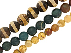 Dzi Inspired Agate, Matte Fossilized Coral, & Matte Bloodstone Round Bead Strand Set/3 Appx 15-16