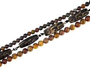 Matte Dzi Inspired Agate Barrel, Yellow Jasper & Sunset Tiger Iron Round Bead Strand Set of 3